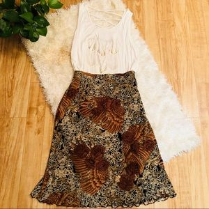 Bronze Floral Midi Skirt and Top Outfit